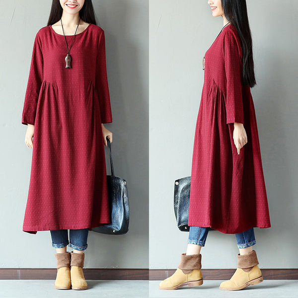 Spring Loose Casual Dot Fold Linen Wine Red Dress