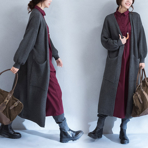 Spring Stripe Puff Sleeves Pocket Deep Gray Long Coat