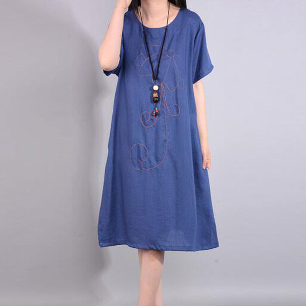 Retro Summer Loose Embroidered Ethnic Blue Dress - Buykud