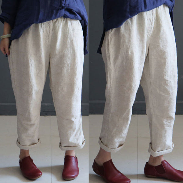 Linen Straight Women Loose Summer Casual Beige Pants
