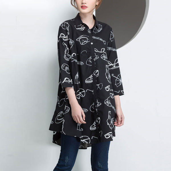 Splicing Loose Women Cotton Casual Irregular Black Shirt