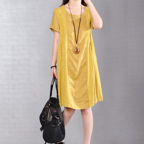 Cotton Loose Casual Short Sleeves Women Yellow Dress - Buykud
