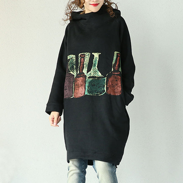 Black Hooded Cotton Jacket - Buykud