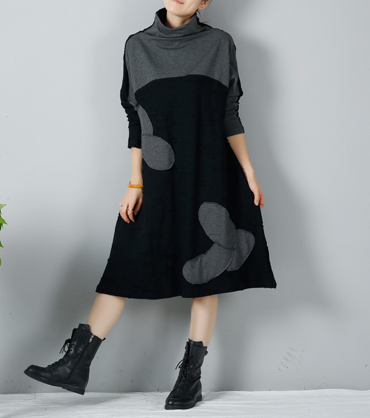 Women Casual Loose Cotton Knitting Winter Dress