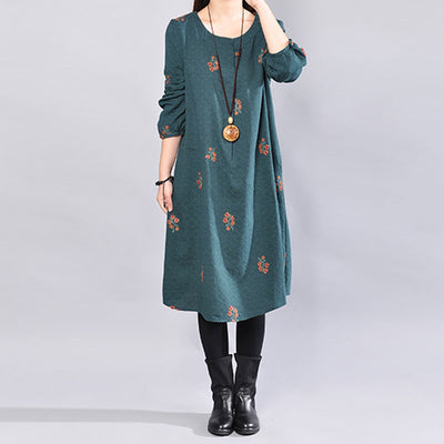 Chic Embroidery Long Sleeves Literature Splicing Women Green Dress - Buykud
