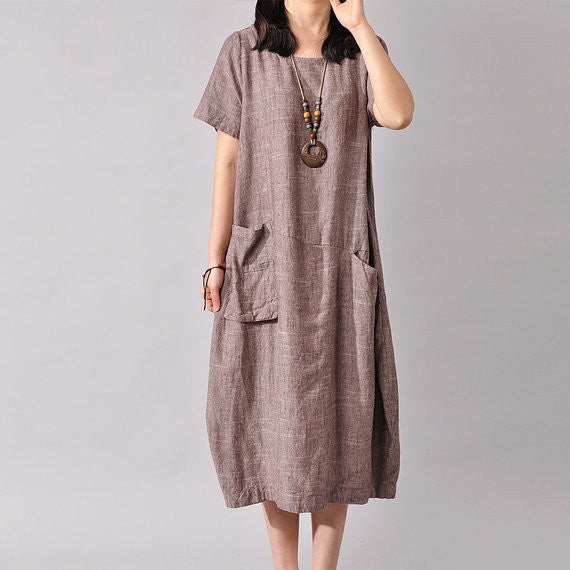 Women Cotton Linen Dress Loose Dress Summer Dress Short Sleeve Dress Large Size Dress - Buykud