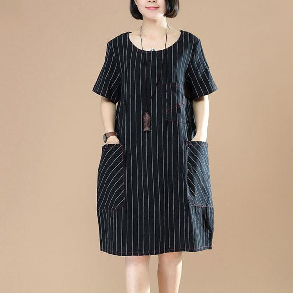 Stripe Women Loose Casual Short Sleeve Dark Coffee Dress