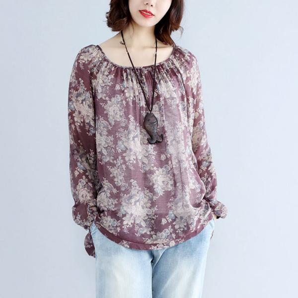 Retro Floral Printed Women Long Sleeve Round Neck Shirt