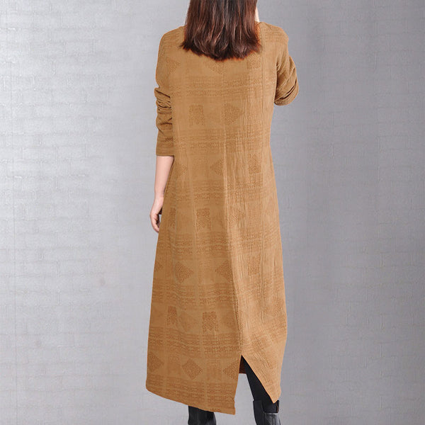 V Neck Long Sleeves Loose Splitting Women Yellow Dress - Buykud