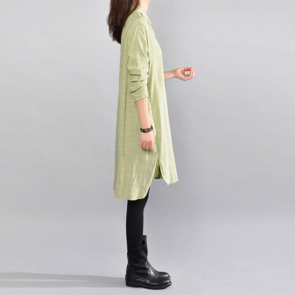 Straight Cotton Women Loose Casual Green Shirt - Buykud