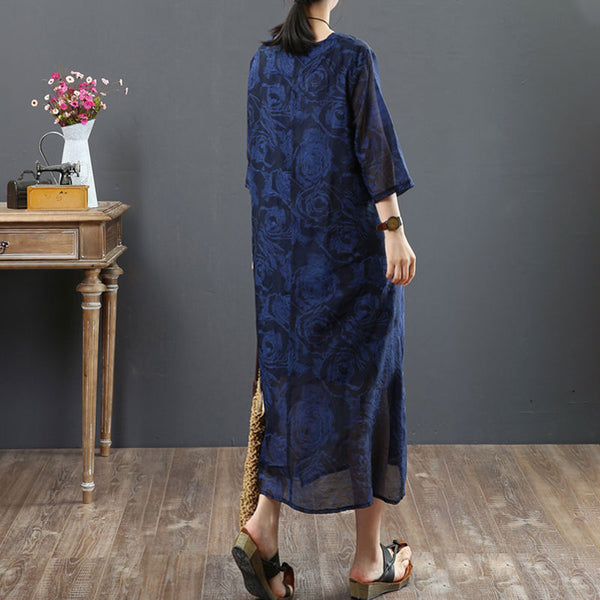 Retro 1/2 Sleeve Round Neck Embroidery Navy Blue Dress - Buykud