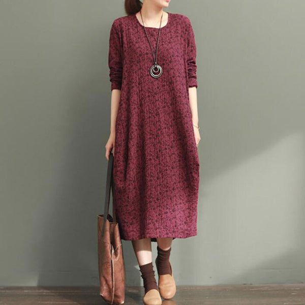 Women Retro Floral Loose Linen Red Dress