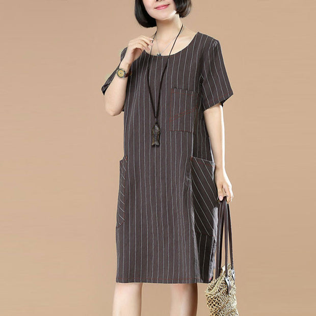 Stripe Women Loose Casual Splicing Summer Dark Coffee Dress - Buykud