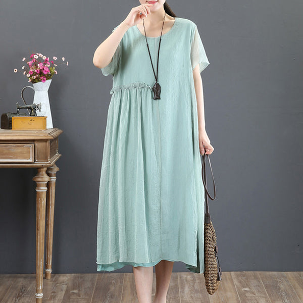 Short Sleeve Summer Retro Fake Two-piece Green Dress