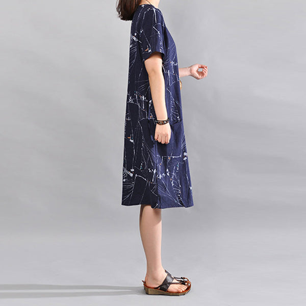 Summer Women Linen Loose Short Sleeves Navy Blue Dress - Buykud
