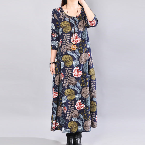 Casual Loose Printing Cotton Mixed Color Long Sleeves Blue Dress