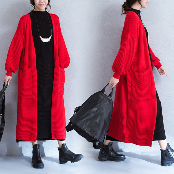 Spring Stripe Puff Sleeves Pocket Red Long Coat