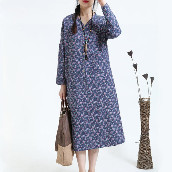 Retro Print Loose Long Sleeve Blue Dress