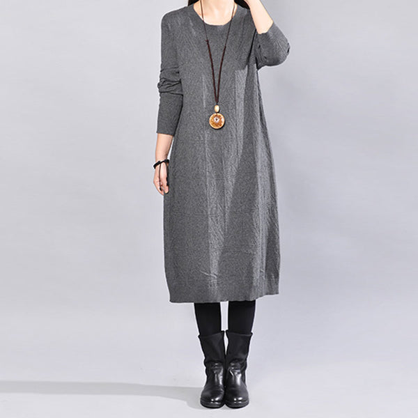 Literature Cotton Polyster Long Sleeeves Women Dark Gray Sweater Dress - Buykud