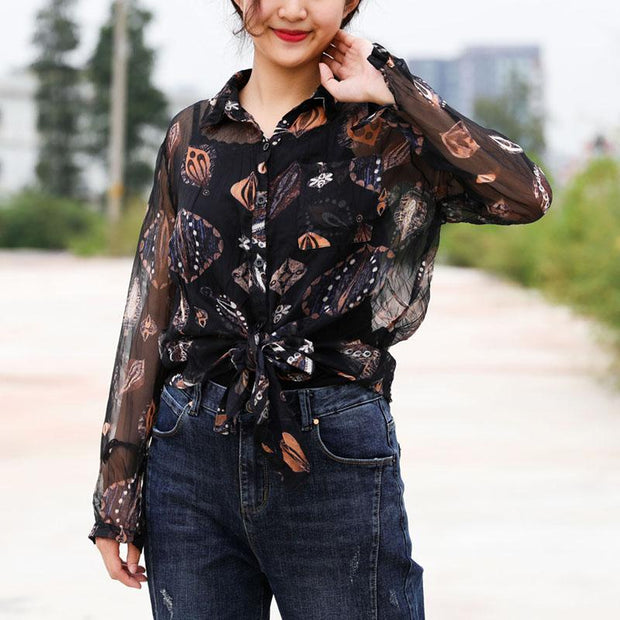 Black Print Transparent Loose Autumn Shirt