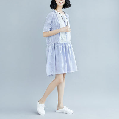 Summer Stripe Short  Sleeve Casual Hollow Dress