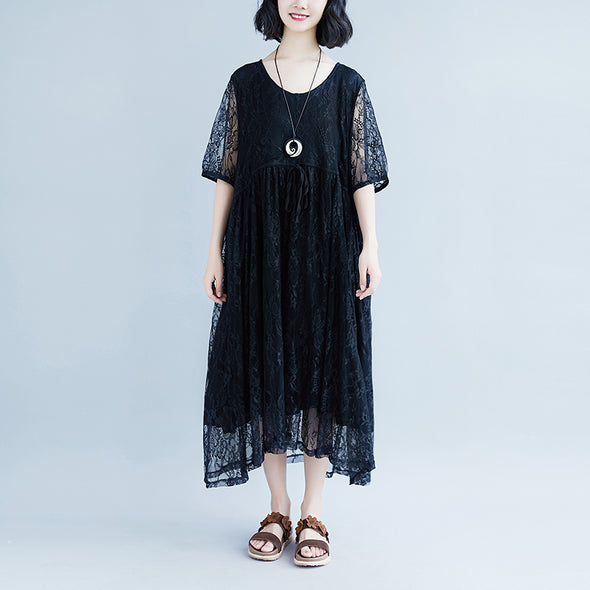 Lacing Summer Short Sleeve Casual Fake Two-piece Black Dress