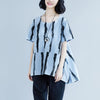 Short Sleeve Summer  Stripe High-low Hem Blue Tops