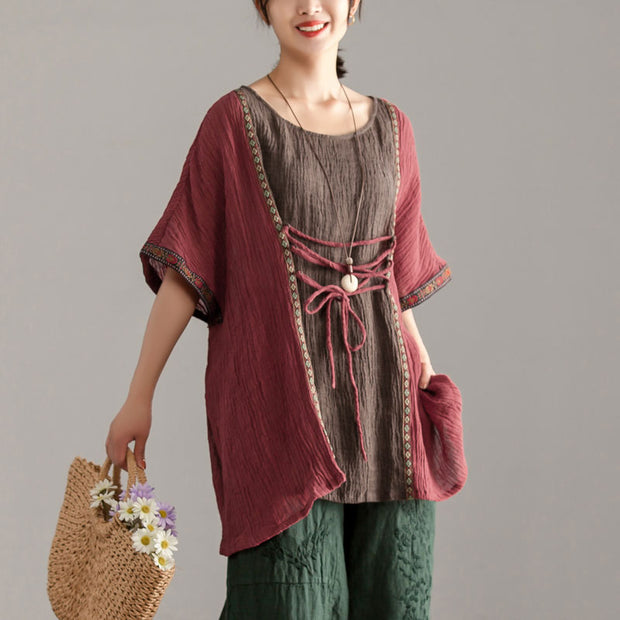 Loose Large Size Women Short Sleeve Splicing Tops
