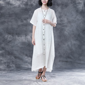 Summer Plaid Short Sleeve Casual White Dress