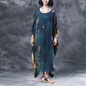 Summer Shoulder Sleeve Printed Long Loose Dress
