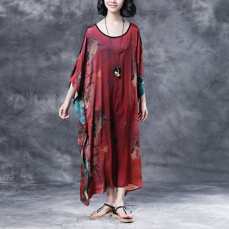 Summer Shoulder Sleeve Loose Printed Long Dress