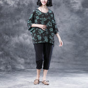 Short Sleeve Summer Flower Cotton Slit Casual Tops