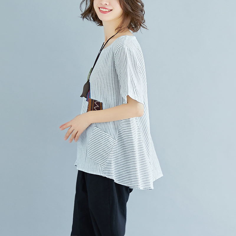 Summer Stripe Short Sleeve High-low Hem Blouse