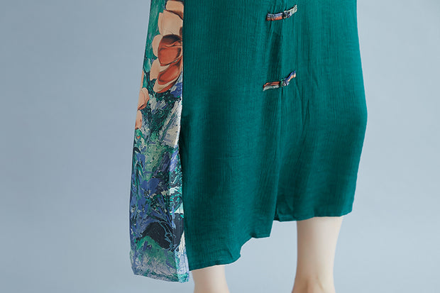 Summer Casual Slit Pockets Round Neck Green Dress