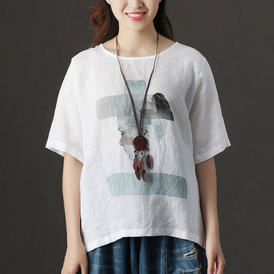 Summer Short Sleeve Round Neck Loose White Blouse