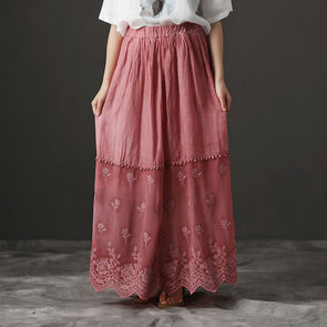 Retro Summer Lacing Flower Pink Long Skirts