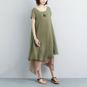 False Two-piece Short Sleeve Green Plain Dress