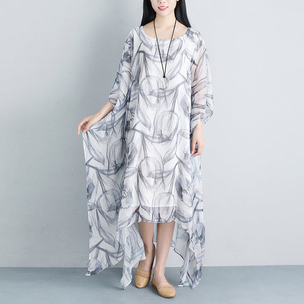 Summer Loose Casual Fake Two-piece Half Sleeve Gray Long Dress