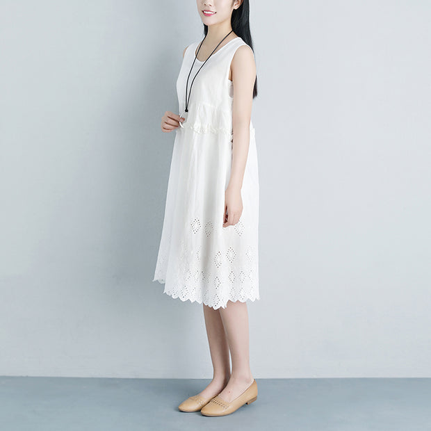 Lacing Casual Hollow Summer Sleeveless White Dress