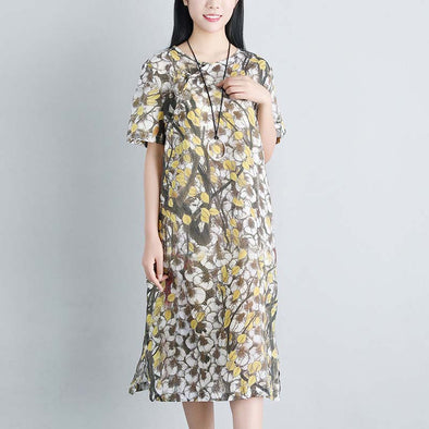 Floral Casual Summer Short Sleeve Pockets Dress