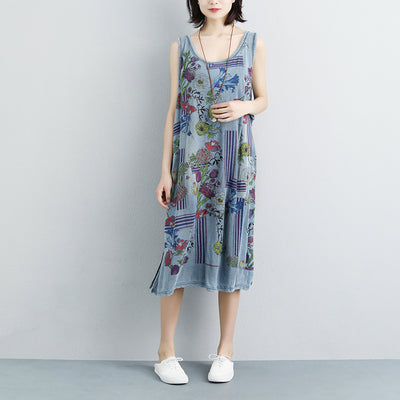 Summer Casual Flower Sleeveless Slit Dress