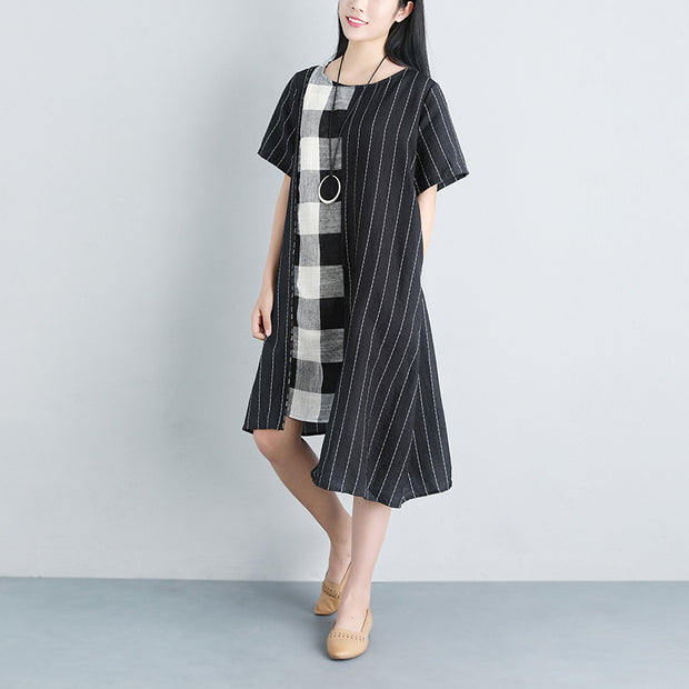 Stripe Summer Short Sleeve Casual Pockets Black Dress