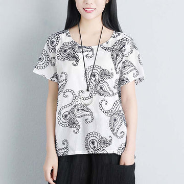 Summer Women Short Sleeve Floral High-low Hem Loose T-shirt