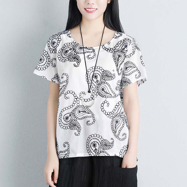 Summer Women Short Sleeve Floral High-low Hem Loose Blouse