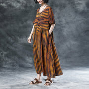 Stripe Casual Pockets Summer Short Sleeve Pleated Dress
