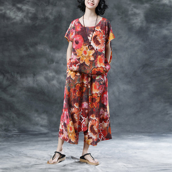 Short Sleeve Women Floral High-low Hem Loose Suits