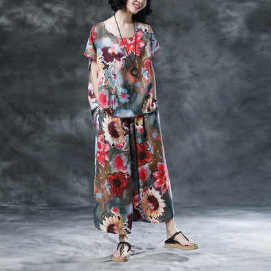 Short Sleeve WomenHigh-low Hem Floral Loose Suits