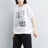 Linen Cotton Short Sleeve Printed White Tops