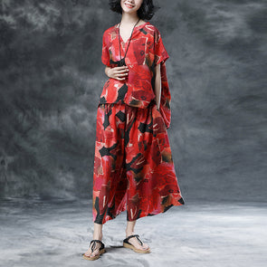 Short Sleeve Summer Women Floral High-low Hem Loose Suits