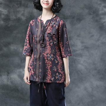 Summer Women Half Sleeve Floral Loose Blouse